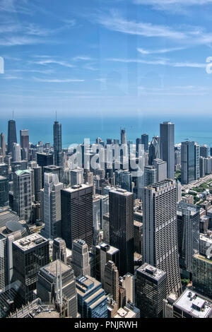 View of downtown Chicago skyscrapers and Lake Michigan from Willis Tower Skydeck, Chicago, IL. - Stock Photo