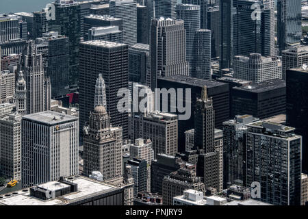 View of skyscrapers from the Skydeck on the 103rd Floor of Willis Tower, Downtown, Chicago, IL. - Stock Photo