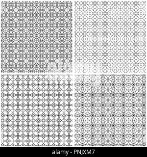 Set of four abstract seamless grids with interlacing black lines on the white background, vector hand drawing - Stock Photo