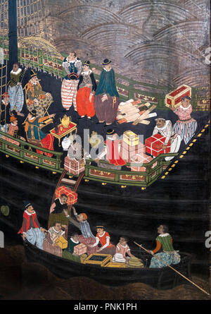 Japanese Namban screen attributed to Kano Domi, tempera on paper, gold leaf, silk, lacquer and metal, 1593-1602 (Momoyama Period). - Stock Photo
