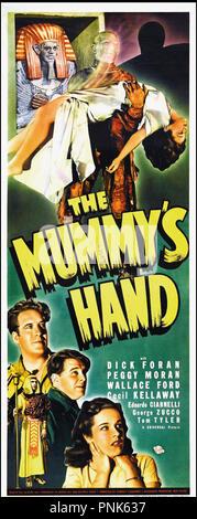 Prod DB © Universal / DR LA MAIN DE LA MOMIE (THE MUMMY'S HAND) de Christy Cabanne 1940 USA  affiche US insert horreur, fantastique,  Code N¡ 1078 - Stock Photo