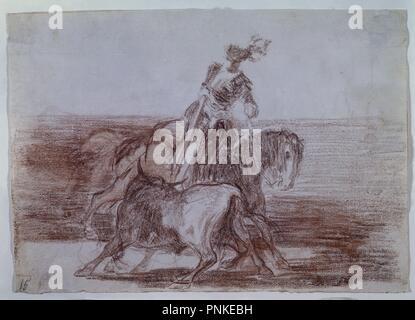 TAUROMAQUIA 10 - CARLOS V LANCEANDO UN TORO EN LA PLAZA DE VALLADOLID - 1815-1816 - DIBUJO PREPARATORIO. Author: GOYA, FRANCISCO DE. Location: MUSEO DEL PRADO-DIBUJOS. MADRID. SPAIN. - Stock Photo