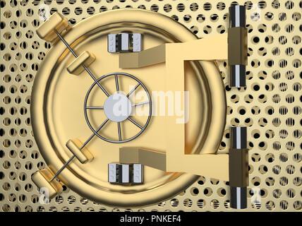 Bank Vault Door 3D rendering close up - Stock Photo