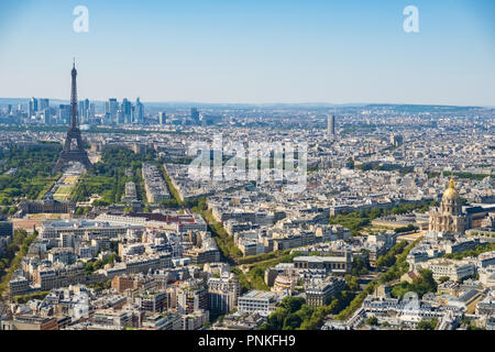 Aerial panormic view of Paris skyline with Eiffel Tower, Les Invalides and business district of Defense, as seen from Montparnasse Tower, Paris, Franc - Stock Photo