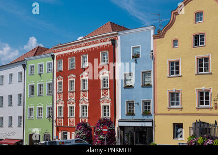 Colorful Baroque buildings in Scharding, Austria - Stock Photo