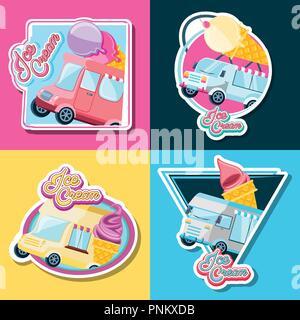 ice cream shop set vans vector illustration design - Stock Photo
