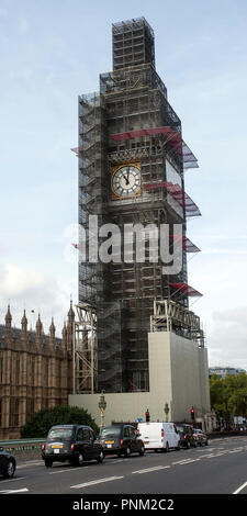 Scaffolding around the Elizabeth Tower and Big Ben, Westminster, London, UK. during refurbishment work, 2018 viewed from Westminster Bridge. - Stock Photo