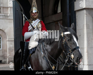 Life Guard Sentry mounted on horse outside Horse Guards Parade, London, UK. - Stock Photo