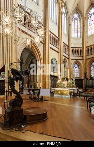 DIJON, FRANCE - AUGUST 10, 2017: Interior of Cathedral of Saint Benigne in Dijon France - Stock Photo