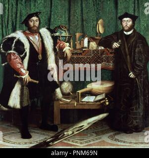 Germany school. The Ambassadors (with anamorphosis in the lower part of the painting). 1533. Oil on oak (209 x 207 cm). London, National Gallery. Author: Holbein the Younger, Hans. Location: NATIONAL GALLERY. LONDON. ENGLAND. - Stock Photo