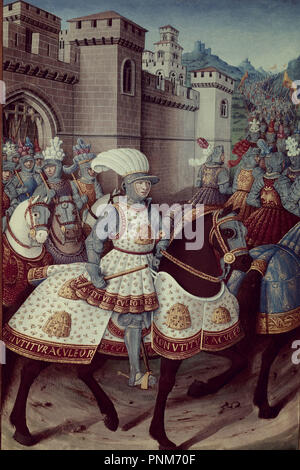 Louis XII leaving Alexandria on the 24th of April 1507, to Chastise the City of Genoa - 1508 - colour lithograph. Author: MAROT, JEAN. Location: NATIONAL LIBRARY. - Stock Photo