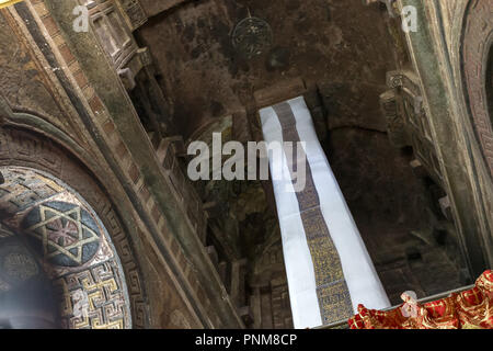 Covered Pillar reputedly inscribed with The Ten Commandments in Greek & Ge'ez, Bet Maryam interior, Northern Group of Churches, Lalibela,  Ethiopia. M - Stock Photo