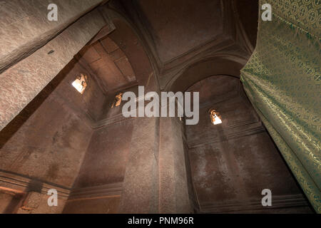 Bet Giyorgis, St George. Ethiopia, Lalibela, Southern Church. Interior with Cross of St George - Stock Photo