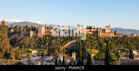 View of Alhambra, Moorish city castle, Nasrid palaces, Palace of Charles Fifth, Sabikah Hill, Granada, Andalusia, Spain - Stock Photo