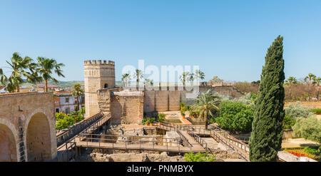 Walls and ruins of the Arab Baths in the Alcázar de Jerez, Moorish Fortress, Jerez de la Frontera, Cádiz province, Andalusia - Stock Photo