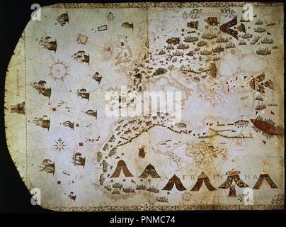 MAPA DE EUROPA Y NORTE DE AFRICA - 1561 - RECORRIDOS DE HERNANDO DE ACUÑA. Location: MUSEO NAVAL. Rome. ITALIA. - Stock Photo