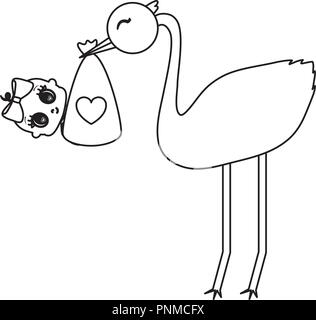 stork with baby girl over white background, vector illustration - Stock Photo