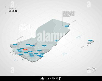 Isometric  3D Yemen map. Stylized vector map illustration with cities, borders, capital, administrative divisions and pointer marks; gradient backgrou - Stock Photo