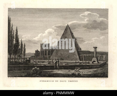 View of the Pyramid of Cestius, Rome, built for Gaius Cestius. Copperplate engraving by A. Parboni after an illustration by Sylvestro Bossi from Achille Parboni's New Collection of Principal Views Ancient and Modern of the City of Rome, 1830. - Stock Photo