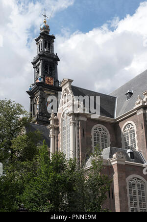 Westerkerk (The Western Church ) - the biggest church in Amsterdam, built 1619 – 1631; church where Rembrandt is buried. - Stock Photo