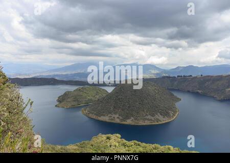 Views on the hike around vulcano lake cuicocha close to otavalo, ecuador - Stock Photo