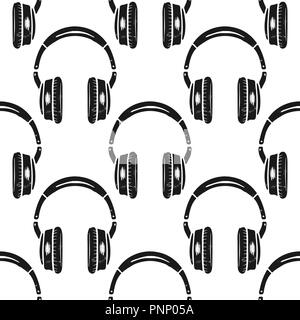 Headphones seamless pattern. Music symbol, silhouette distressed style. Musical wallpaper background. Stock vector isolated on white background - Stock Photo