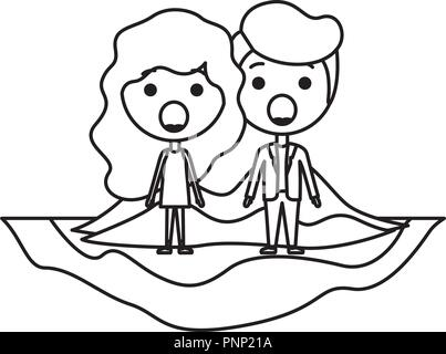Cartoon Surprised Couple Kawaii Characters Stock Vector Art