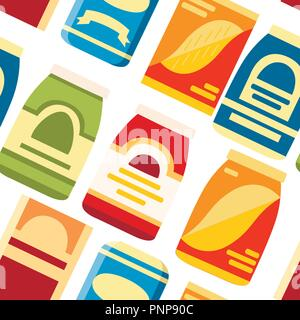Seamless pattern. Packages for cereals. Paper and cardboard boxes for food. Flat vector template icon. Vector illustration on white background. - Stock Photo