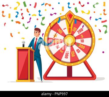 Wheel of fortune with men and confetti. Wheel game ,winner play luck flat style. Vector illustration isolated on white background. - Stock Photo