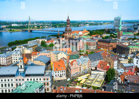 Riga Latvia, view north over Old Riga (Vecriga) showing the medieval Old Town, the city Cathedral and the River Daugava beyond, Latvia. - Stock Photo