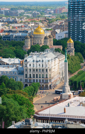 Riga Latvia, aerial view of the city center of Riga showing the Freedom Monument, the Greek Orthodox cathedral, and the tree-lined Esplanade, Latvia. - Stock Photo