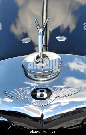 close-up on the radiator of old Bentley car - Stock Photo