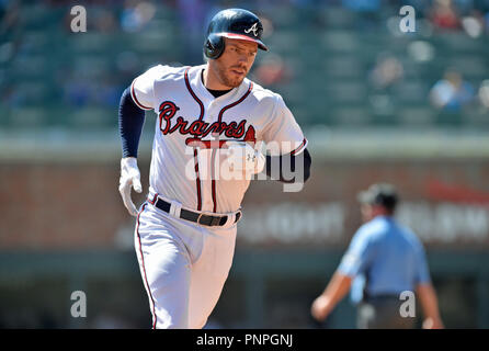Atlanta, GA, USA. 15th Sep, 2018. Atlanta Braves infielder Freddie Freeman rounds second base after hitting a two-run homer during the fourth inning of a MLB game against the St. Louis Cardinals at Sun Trust Park in Atlanta, GA. Atlanta won 7-3. Austin McAfee/CSM/Alamy Live News - Stock Photo