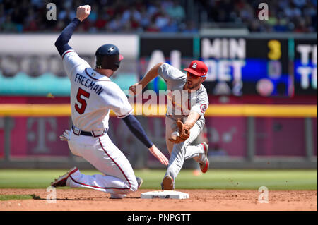 Atlanta, GA, USA. 15th Sep, 2018. St. Louis Cardinals infielder Paul DeJong (right) looks to tag out Atlanta Braves infielder Freddie Freeman (5) as he slides into second base during the sixth inning of a MLB game at Sun Trust Park in Atlanta, GA. Atlanta won 7-3. Austin McAfee/CSM/Alamy Live News - Stock Photo