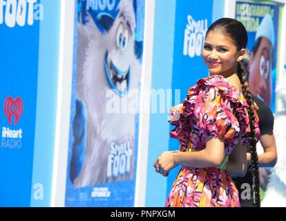 Los Angeles, CA, USA. 22nd Sep, 2018. Zendaya at arrivals for SMALLFOOT Premiere, Regency Village Theatre - Westwood, Los Angeles, CA September 22, 2018. Credit: Elizabeth Goodenough/Everett Collection/Alamy Live News - Stock Photo