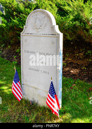 Plymouth Notch, VT, USA - Headstone, Calvin Coolidge. Born on July 4, 1872, Calvin Coolidge  was the 30th President of the United States. - Stock Photo