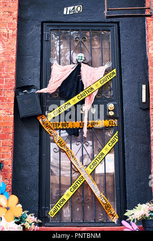 halloween decorations including a witch and decorative police stripes on the front door of a house in brooklyn new york usa stock photo 219968281 alamy