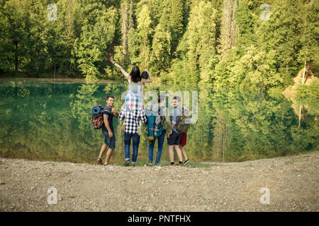 young trvelers are going fishing - Stock Photo