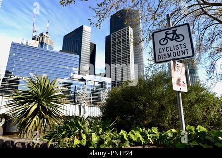 Cyclists dismount sign, Melbourne VIC, Australia
