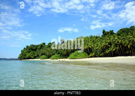 Tropical Beach of Coibita, aka Rancheria. Coiba National Park, Panama - Stock Photo