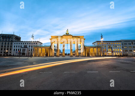 First lights in the morning at Branderburg Gate in Berlin, Germany - Stock Photo