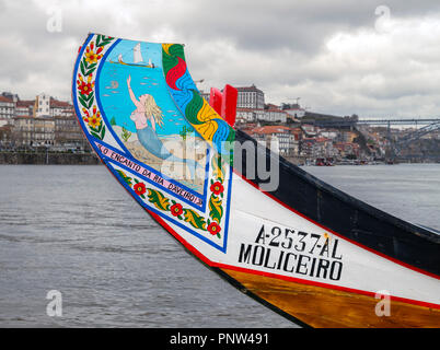 Prow of a colourful boat on the River Douro, Vila Nova de Gaia, Porto, Portugal - Stock Photo