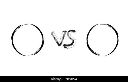 Versus template. VS screen with empty space. Battle background with dry brush letters and round frames for contestants names. Vector illustration. - Stock Photo