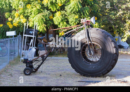 A big tire motorcycle customized in the street - Stock Photo