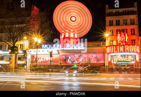 The Moulin Rouge , Paris, France. It is a famous cabaret built in 1889, locating in the Paris red-light district of Pigalle - Stock Photo