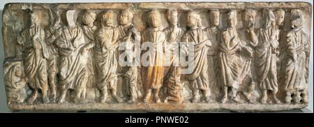 Roman sarcophagus. 4th century. Carrara marble. Figurative reliefs depicting scenes from the New Testament. Found in Barcelona. Archaeological Museum of Catalonia. Barcelona. Spain. - Stock Photo