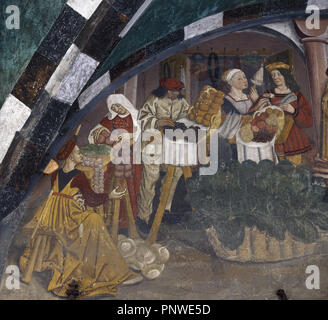 Lunette of the market. It depicts fruits and vegetable market with customers and vendors in costumes of the period. Attributed to Magister Collinus, ca. 1500. Portico. Late 15th -16th century. Issogne Castle. Aosta Valley, Italy. - Stock Photo