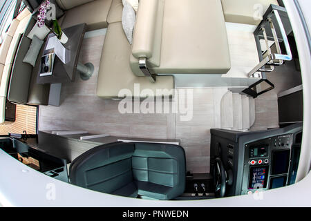 NORWALK, CT, USA-SEPTEMBER 20, 2018: View from sky window to inside Pershing 5X cabin displayed on  Progressive Norwalk Boat Show 2018. - Stock Photo