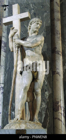 Michelangelo Buonarroti (1475-1564). The Cristo della Minerva, also known as Christ the Redeemer or Christ Carrying the Cross. Marble sculpture, 1521. Located to the left of the main altar. Saint Mary above Minerva. Italy. Rome. - Stock Photo