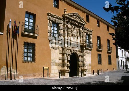 Spain. Almansa. City Hall. Located in the Big House or Palace of the Counts of Cirat, built in the 16th century in Mannerist style. Main facade. - Stock Photo